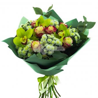Букет с розами, хризантемами и орхидеей